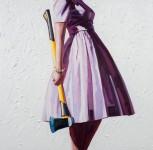 カラフルなドレスを着た女性が工具を持つ油絵