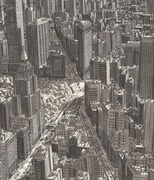 超精密!記憶を頼りに世界の都市景観を描くモノクロ絵画 (11)