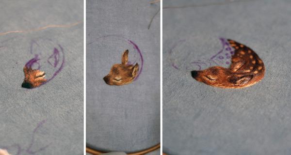 縫い付けていく制作過程