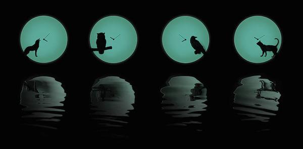 夜行性動物のシルエットが浮かぶ!月のように輝く蓄光時計 (11)