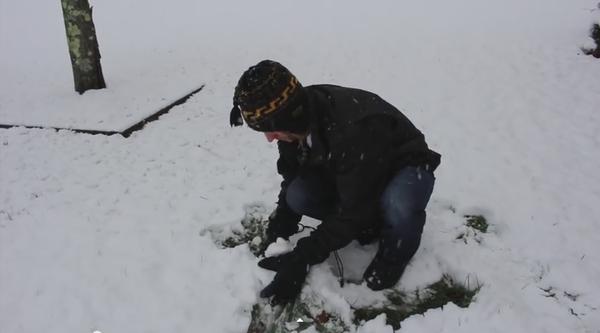 手で雪を集める