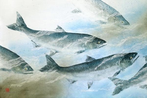 日本文化『魚拓』で描かれる海外アーティストによる絵画作品 (13)