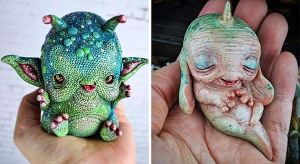 キモカワ!?ポリマークレイ製の手作りクリーチャー人形 (2)