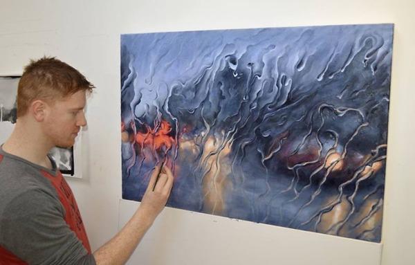 雨に濡れた車のフロントガラスから覗く世界を油絵で表現 (3)