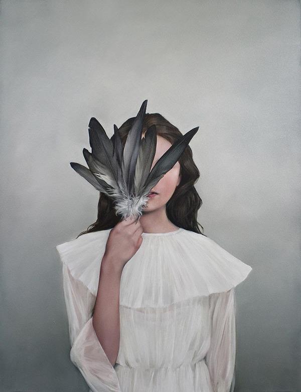 頑なに顔は見せない!顔が隠されたシュールな女性の肖像画 (17)