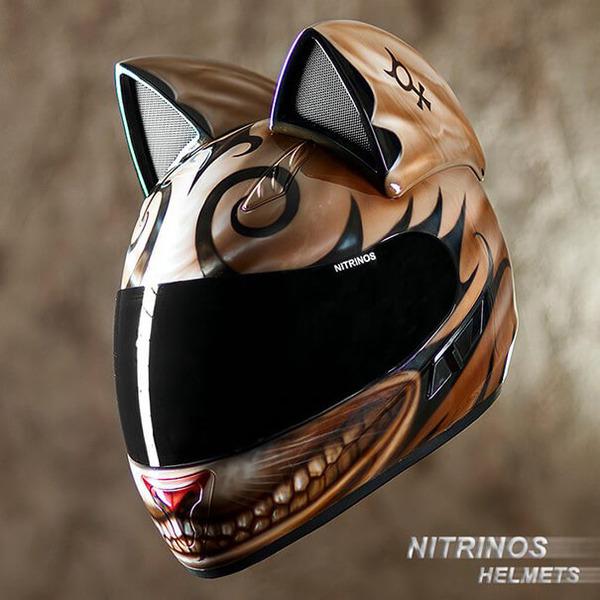 猫ヘルメットがクール!ネコ耳!二輪用フルフェイスヘルメット (7)