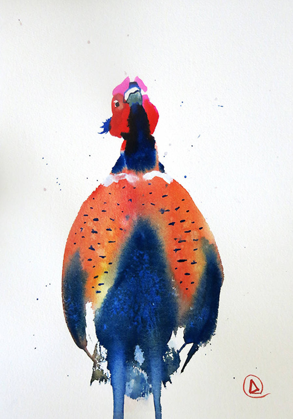 フクロウやワシなどの鳥類を描いたカラフルな水彩画 (7)