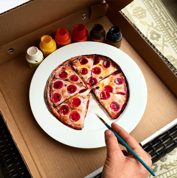 ピザ 2 お皿に描くハイパーリアリスムアート