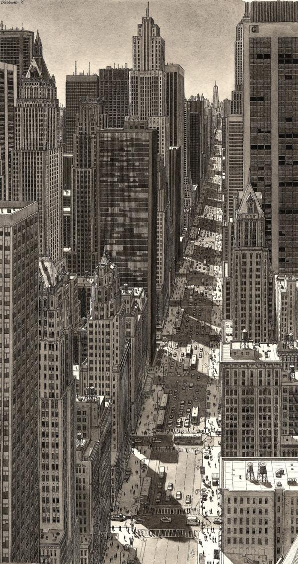 超精密!記憶を頼りに世界の都市景観を描くモノクロ絵画 (3)