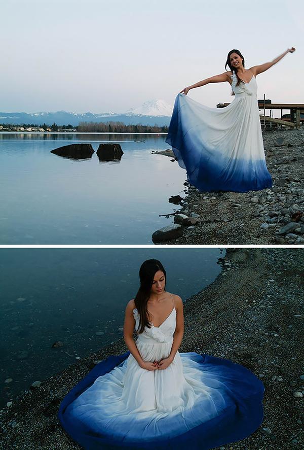 鮮やかなカラーが美しい。色が付いたウェディングドレス (6)