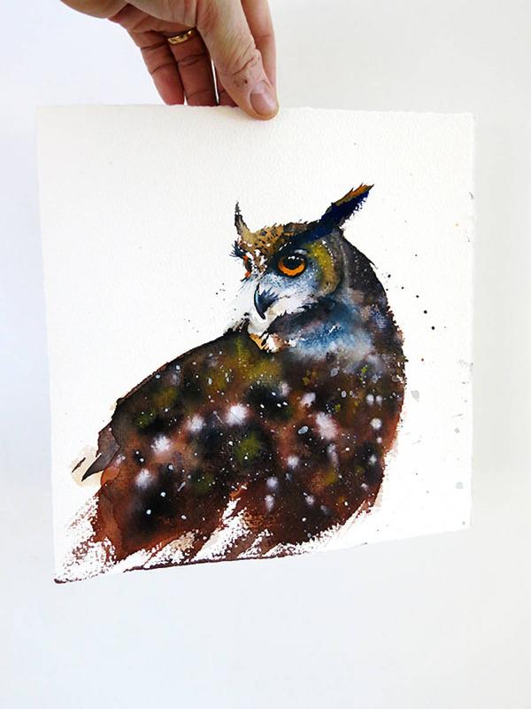 フクロウやワシなどの鳥類を描いたカラフルな水彩画 (13)