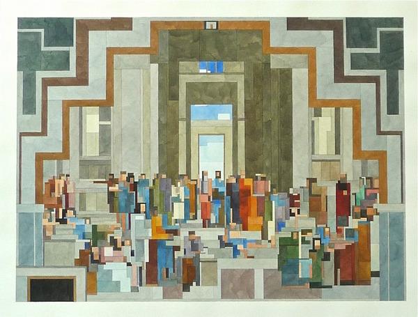 有名な絵画を図形で再構築して描いた彩画 (7)