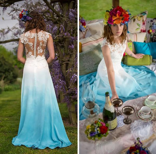 鮮やかなカラーが美しい。色が付いたウェディングドレス (12)