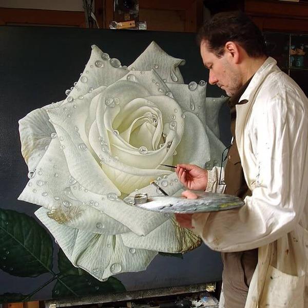 高精細!水滴をまとう写実的で美しいバラの花の油絵 (1)