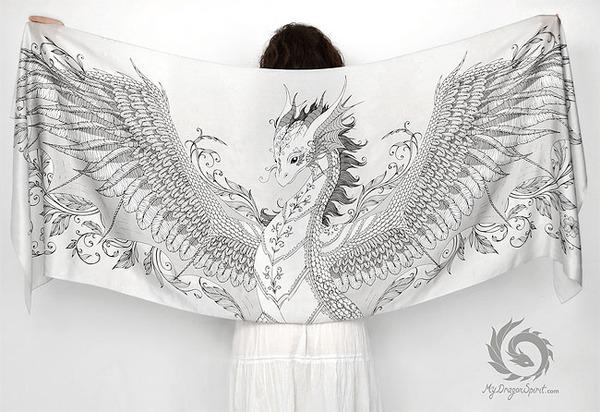 ドラゴン!竜を描いたシルクのスカーフ (6)