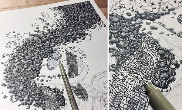 ひたすらに点を打って描く!超繊細な手描きドット絵 (5)