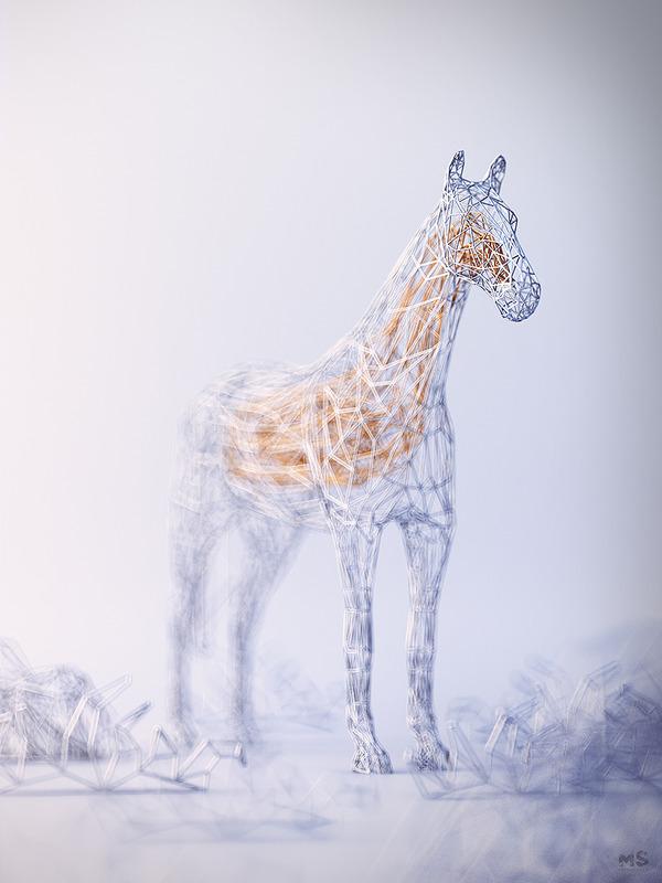 3Dポリゴンみたいな幾何学的動物彫刻 (7)