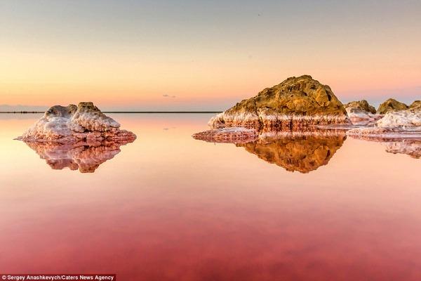 紅く染まる塩湖 Koyashskoye 9