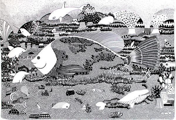 描き込み量がすごい!不思議世界なモノクロイラスト (5)