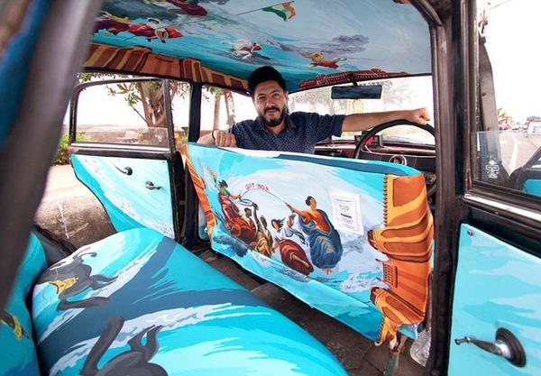 明るい気分で乗車できる!超カラフルなインドのタクシー (18)