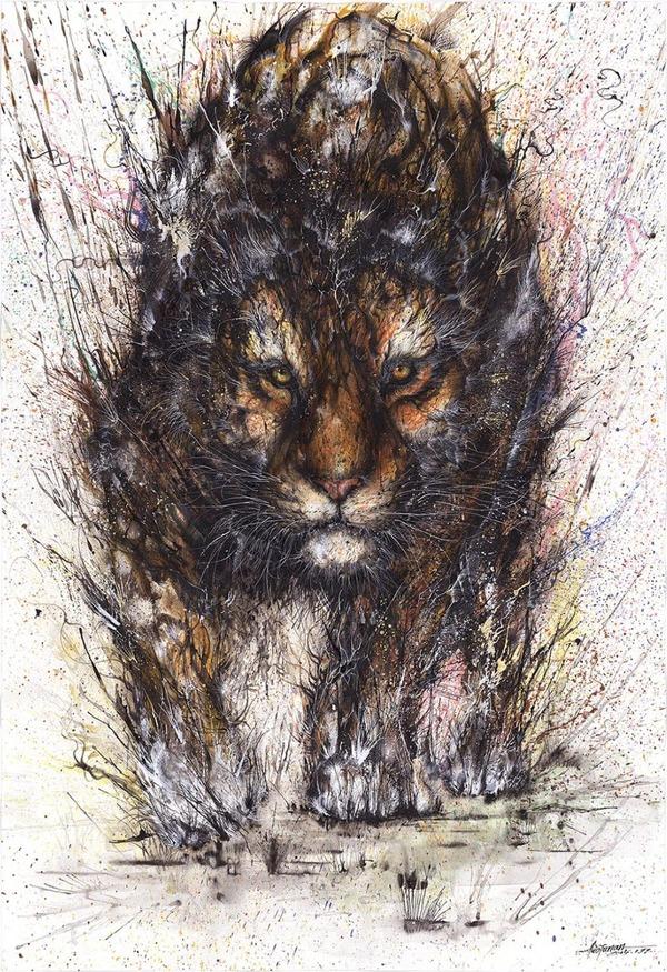 虎の水墨画 -HUA TUNAN- 画图男