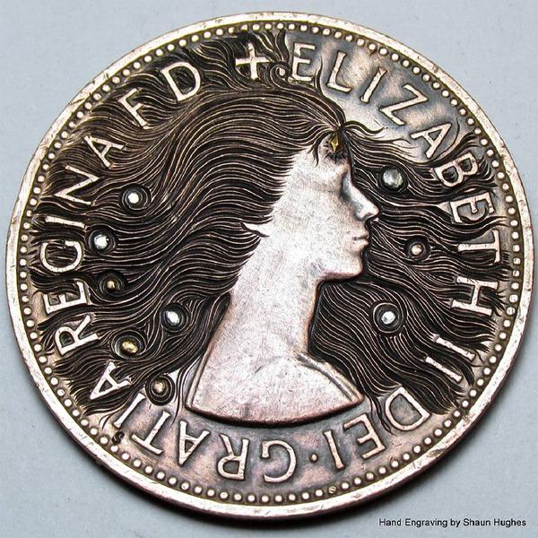 超繊細!コインに花の模様を彫る彫刻作品 (9)