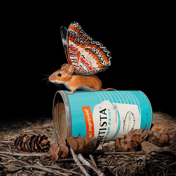 蝶々の羽が生えたネズミやリス小動物を描いた絵 (1)