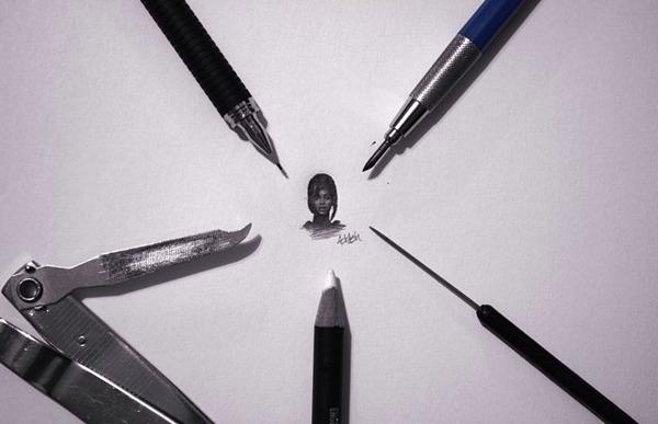 超小さいのに写実的!鉛筆の芯の先で描くミニチュア肖像画 (7)