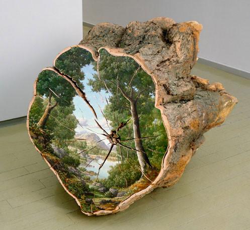 木の断面にアメリカの自然風景を描く (13)