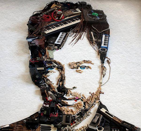 音楽機材や電子機械を積み上げて有名人の肖像画を描く! (3)