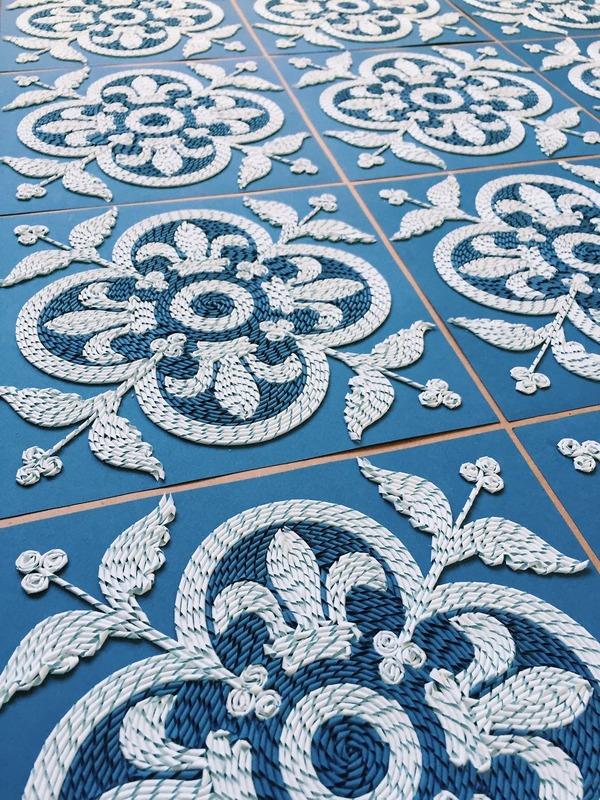 紙のカーペット!丸めて切った紙で繊細な模様を作るアート (11)