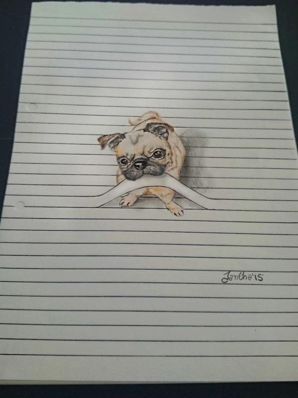 紙から飛び出る!ノートの横線で遊ぶキュートな動物のイラスト (7)