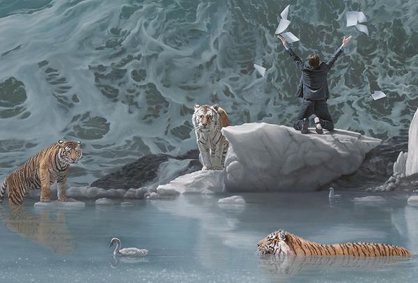 虎と人間が織り成すシュールな世界観を描いた油絵 (6)