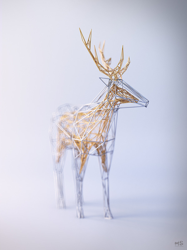 3Dポリゴンみたいな幾何学的動物彫刻 (2)