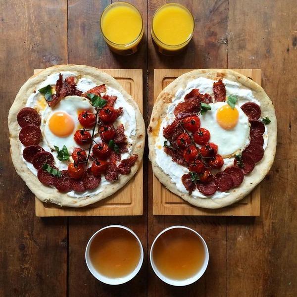 美味しさ2倍!毎日シンメトリーな朝食写真シリーズ (47)