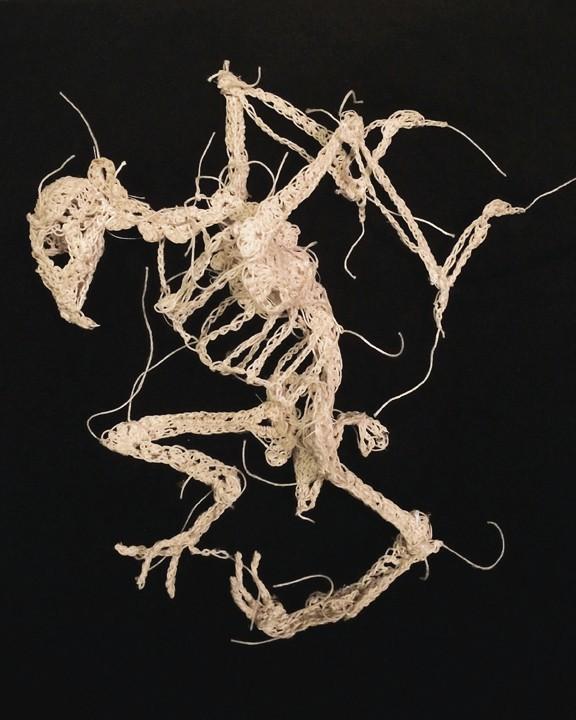 綿糸から作られた動物の骨格彫刻 (11)