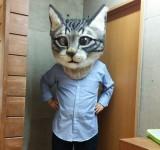 リアル猫ヘッド!羊毛フェルトで作られた超巨大な猫型リアルマスク!