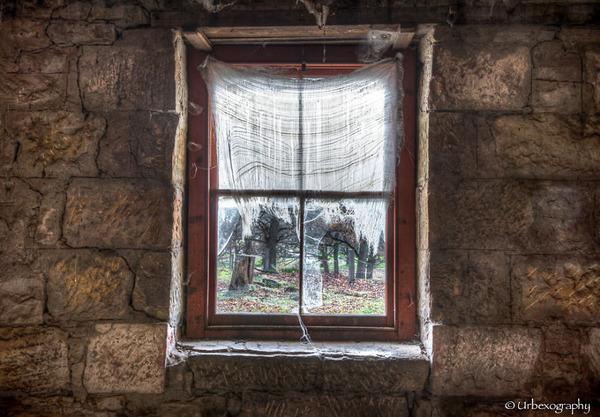 廃墟の部屋の窓から覗く風景 1