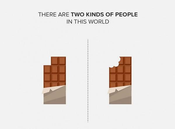 二種類の人間。シンプルなカラーイラストで表現 (2)
