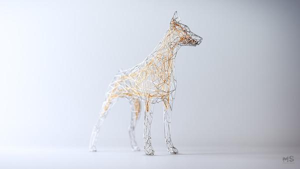 3Dポリゴンみたいな幾何学的動物彫刻 (6)