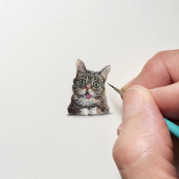 小さいのに細かい所までリアルかわいい!超ミニチュアな絵 (4)