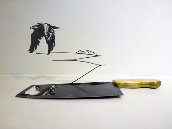 包丁からシルエット。ブッチャーナイフから金属彫刻 (7)