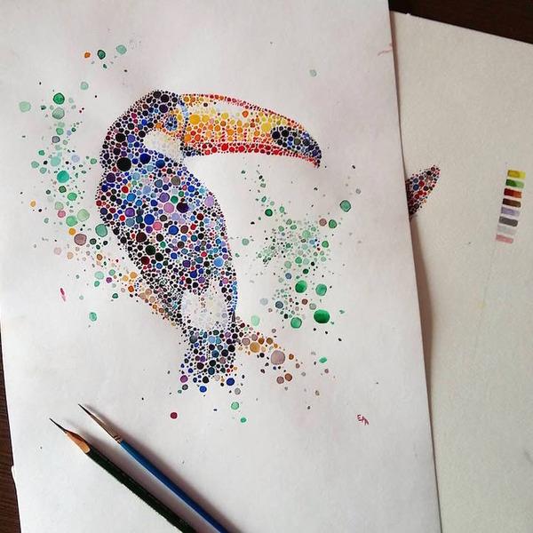 超カラフルな動物の水彩画!色とりどりの点によって描かれる (14)