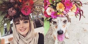 花束を頭に乗せる!笑顔が溢れてくる花の写真