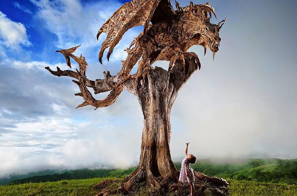 流木で作られたドラゴンの彫像,彫刻 8