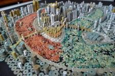 硬貨で作られた中国重慶市のレプリカ!ミニチュアジオラマ風