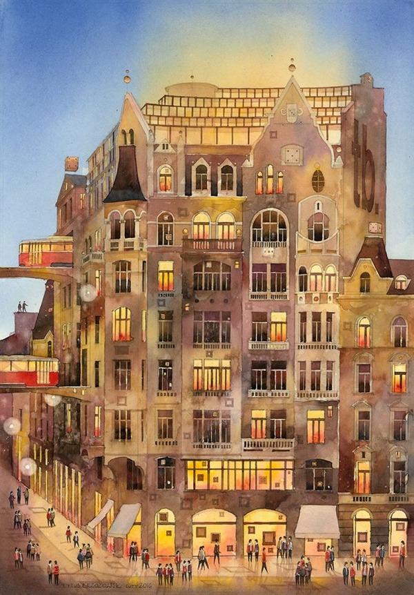 19世紀のポーランドの街並みに触発された都市の水彩画 (10)