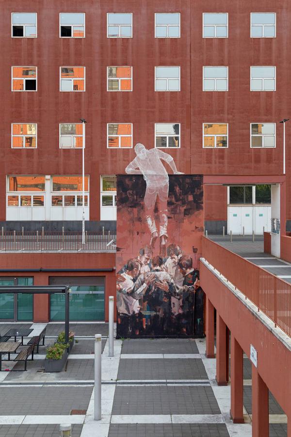 人間の立体的な壁画アート (6)