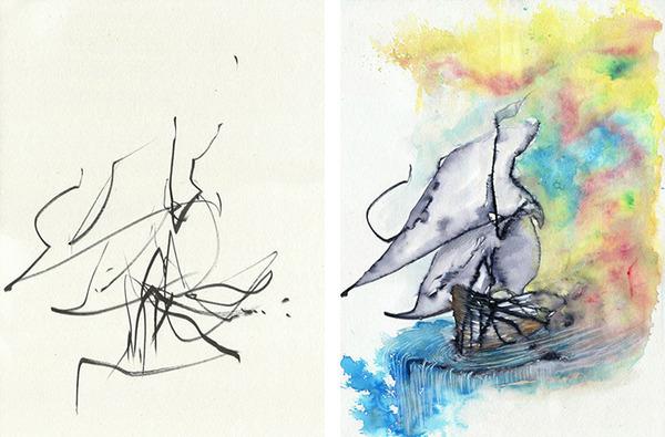 コラボレーション!子供の落書きとママが描く水彩画 (6)