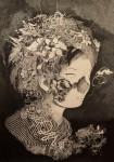 超繊細!自然や動物で装飾された女性をインクで描いた絵画